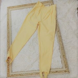 Vintage yellow 1980s Stirrup Highwaisted Pants xs